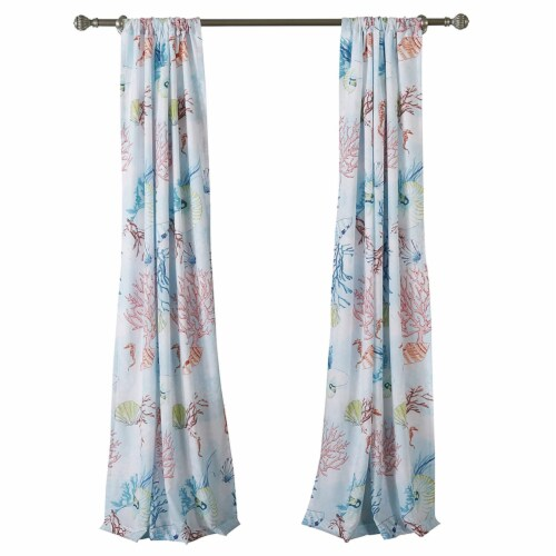 Saltoro Sherpi Polyester Panel Pair with Coral Prints and 2 Tie Backs, Multicolor Perspective: front