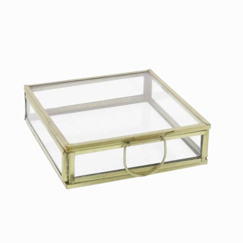 Saltoro Sherpi Modern Designed Flat Square Top Box with Metal Handle, Gold and Clear Perspective: front