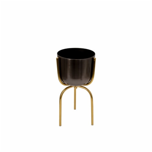 Saltoro Sherpi Round Metal Planter with Tripod Base, Silver and Gold Perspective: front