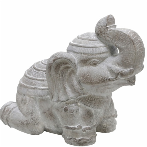 Benjara BM221080 Polyresin Frame Kneeling Elephant Figurine with Raised Trunk, Gray Perspective: front