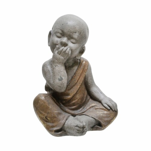 Benjara BM221082 Polyresin Baby Monk Figurine with Covered Mouth, Weathered Gray Perspective: front