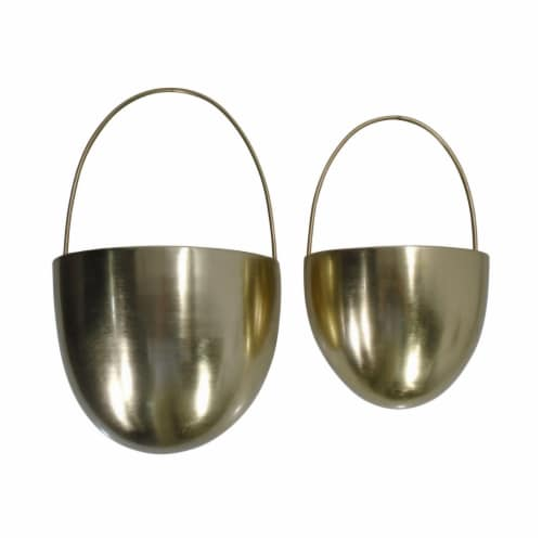 Saltoro Sherpi Oval Shape Metal Wall Planter with Attached Hanger, Set of 2, Gold Perspective: front
