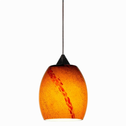 Saltoro Sherpi 5W Integrated LED Pendant Lighting with Dimmer Feature, Yellow and Bronze Perspective: front