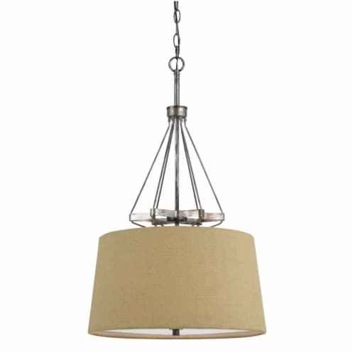 Saltoro Sherpi 3 Bulb Pendent with Round Burlap Shade and Metal Frame, Beige Perspective: front