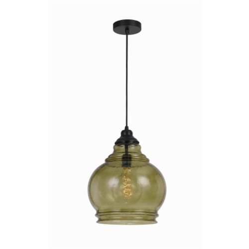 Saltoro Sherpi 60 Watt Metal Frame Pendant with Rippled Glass Shade, Beige and Black Perspective: front