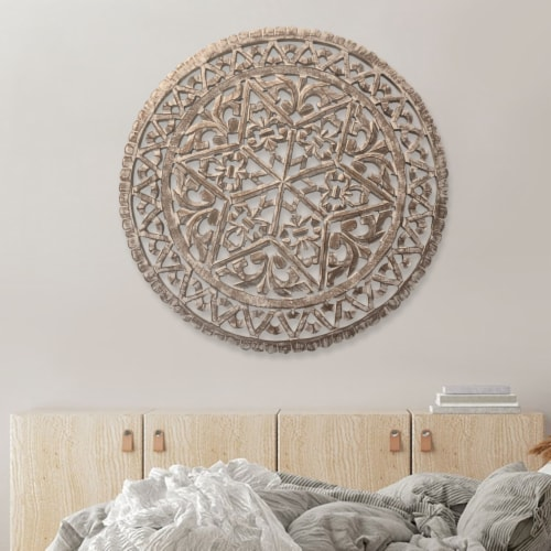 30 Inch Round Wooden Carved Wall Art with Intricate Cutouts, Distressed White ,Saltoro Sherpi Perspective: front