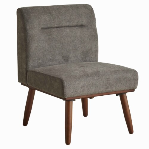Saltoro Sherpi Upholstered 1 Seater Sofa with Splayed Legs and Padded Seat, Gray and Brown Perspective: front
