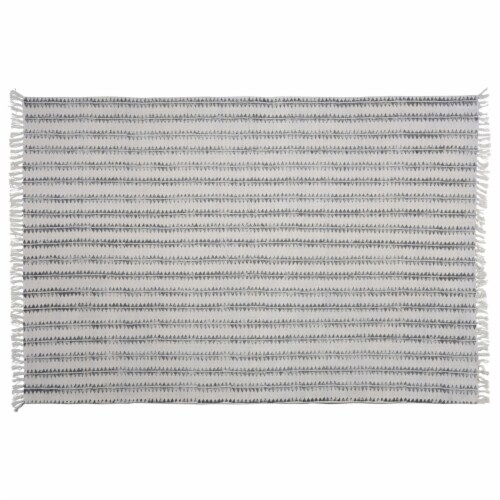Saltoro Sherpi 4 X 6 Feet Fabric Rug with Fringes and Sawtooth Stripes, Gray and White Perspective: front