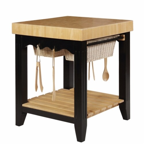 Benjara BM225664 Wooden Square Kitchen Island with Basket Pull Out Drawers, Black & Brown Perspective: front
