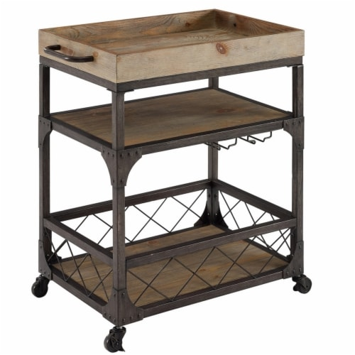 Benjara BM225670 Wood & Metal 3 Level Bar Cart with Caster Wheels & Side Handle, Brown Perspective: front