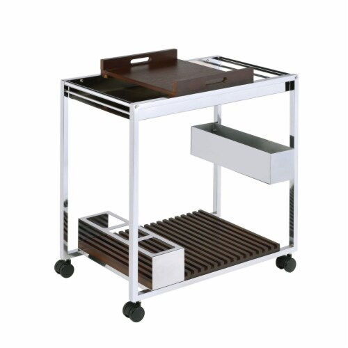 Saltoro Sherpi Metal and Wood Serving Cart with Tray and Floating Shelf, Brown and Silver Perspective: front