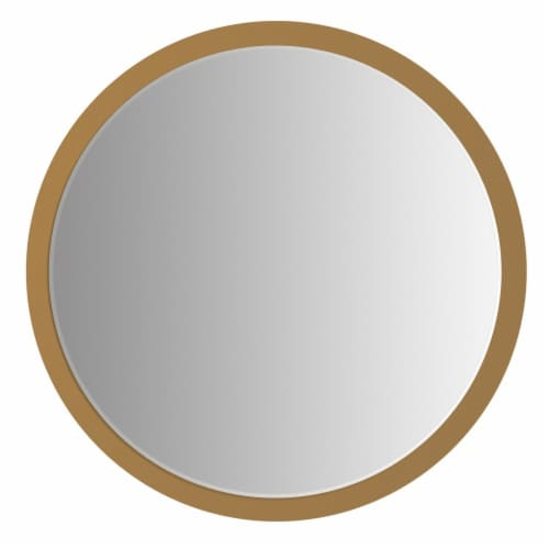 Benzara Round Wall Mirror - Brown Perspective: front