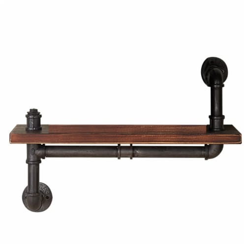 Saltoro Sherpi Pipe Design Metal Body Floating Single Wall Shelf, Gray and Brown Perspective: front