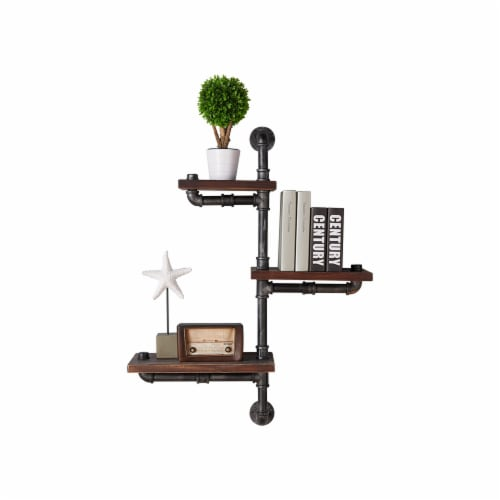 Saltoro Sherpi Metal Body Floating Three Wall Shelves with Pipe Design, Gray and Brown Perspective: front