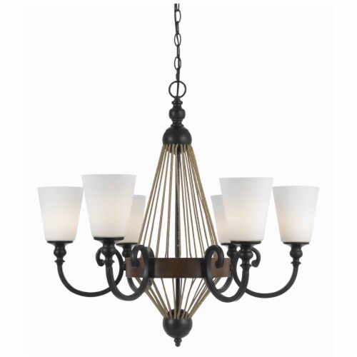 Saltoro Sherpi 6 Bulb Chandelier with Wooden and Scrolled Metal Frame, Brown and Black Perspective: front