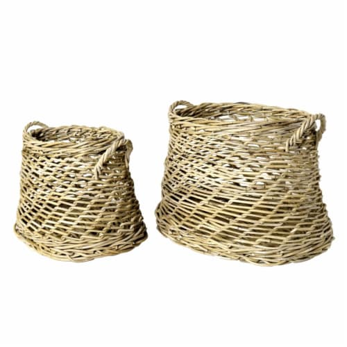 Saltoro Sherpi Rattan Open Woven Basket with Curved Handles, Set of 2, Brown Perspective: front