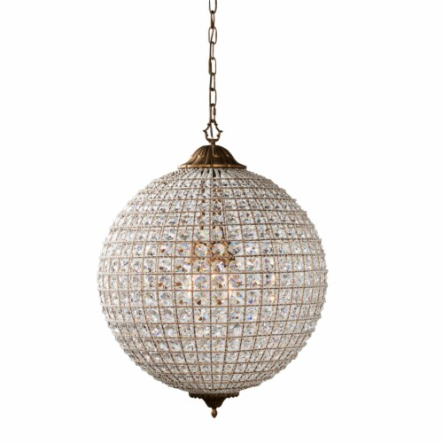 Saltoro Sherpi Metal Encased Crystal Chandelier with Engraved Details, Large, Clear and Gold Perspective: front