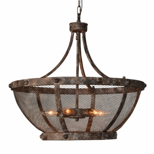 Saltoro Sherpi Metal Frame Cross Hatch Mesh Design 6 Light Chandelier, Antique Bronze Perspective: front