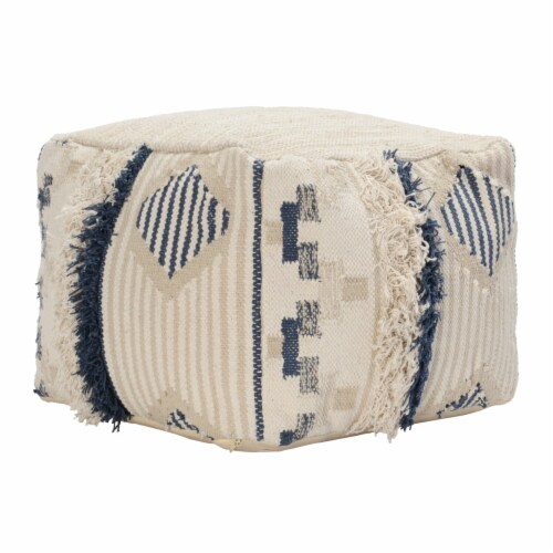 Saltoro Sherpi Fabric Pouf Ottoman with Woven Design and Fringe Details, Cream and Blue Perspective: front