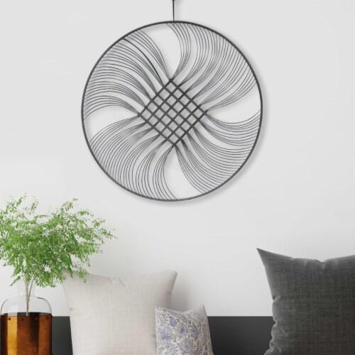 Saltoro Sherpi 32 Inch Round Metal Wall Decor with Swirl Design, Black Perspective: front