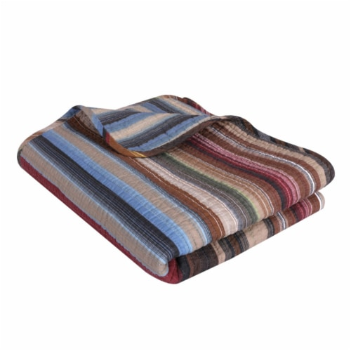 Saltoro Sherpi Phoenix Fabric Throw with Striped Prints, Multicolor Perspective: front
