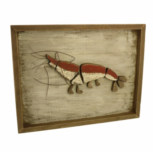 Saltoro Sherpi Rectangular Wooden Frame Lobster Wall Decor, Brown and Red Perspective: front