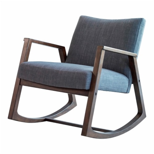 Saltoro Sherpi Fabric Rocking Chair with Open Wooden Arms, Gray and Brown Perspective: front