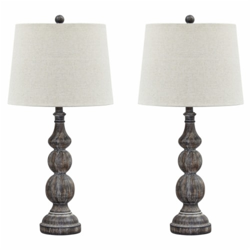 Saltoro Sherpi Polyresin Table Lamp with Turned Base, Set of 2, Brown and Off White Perspective: front