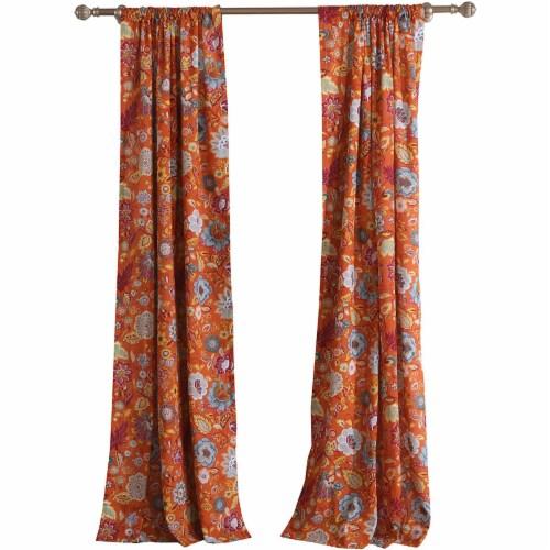 Saltoro Sherpi Paris 4 Piece Floral Print Fabric Curtain Panel with Ties, Orange Perspective: front