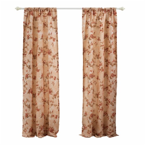 Saltoro Sherpi Munich 4 Piece Flower and Petal Print Fabric Curtain Panel with Ties,Beige Perspective: front