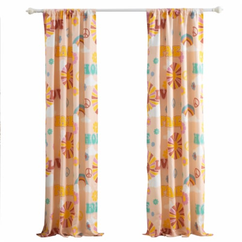 Saltoro Sherpi Dublin 4 Piece Rainbow and Cloud Print Fabric Curtain Panel with Ties, Beige Perspective: front