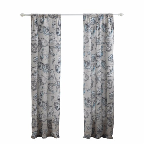 Saltoro Sherpi Madrid 4 Piece Beach Print Fabric Curtain Panel with Ties, White and Gray Perspective: front