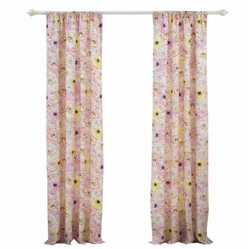 Saltoro Sherpi Sava Fabric 4 Piece Panel Pair with Floral Pattern, Pink Perspective: front