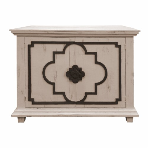 44 Inch 2 Door Wooden Storage Console with Quatrefoil Molded Front, White and Gray Perspective: front