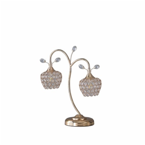 Saltoro Sherpi Floral Tree Design Metal Table Lamp with Dome Shade and Crystals, Gold Perspective: front