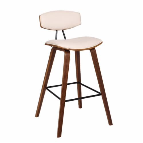 Saltoro Sherpi 28.5 Inches Contoured Seat Leatherette Barstool, Cream Perspective: front