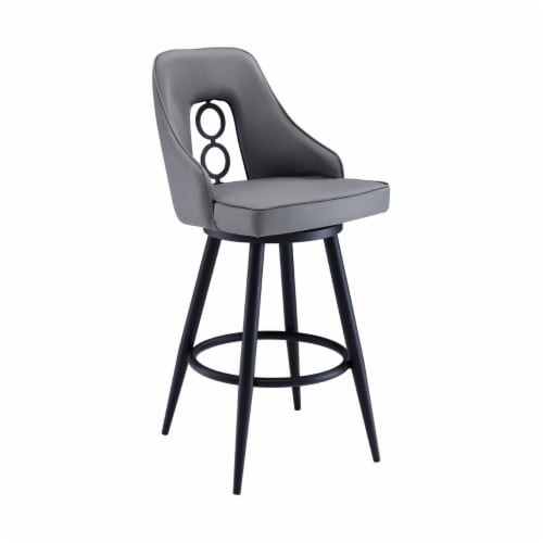 Saltoro Sherpi Faux Leather Barstool with Metal Tapered Legs, Gray and Black Perspective: front