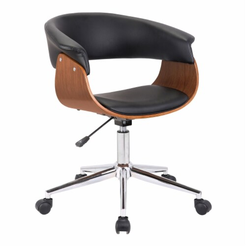 Saltoro Sherpi Curved Faux Leather Office Chair with Wooden Support and Star base, Black Perspective: front