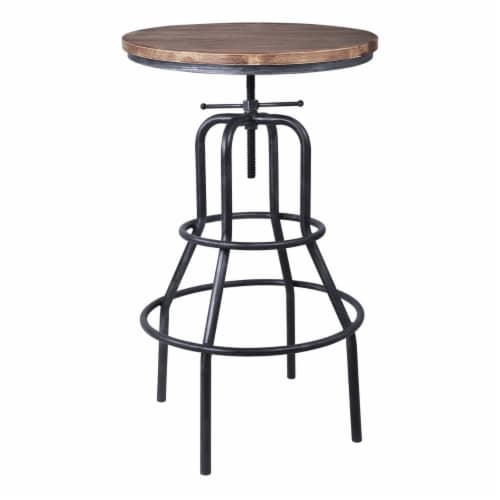 Saltoro Sherpi Metal Adjustable Height Pub Table with Round Seat, Brown Perspective: front