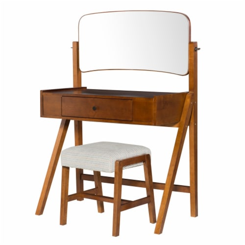 Mid Century Style Vanity Set with Adjustable Tilting Mirror, Brown Perspective: front