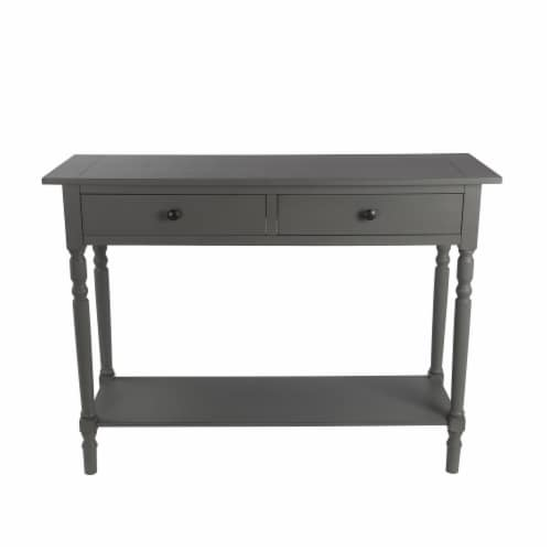42 Inches 2 Drawer Console Table with Slatted Top, Gray Perspective: front