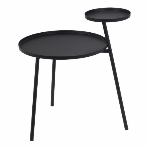 2 Tier Metal Accent Table with Tubular Frame and Tray Top, Black Perspective: front