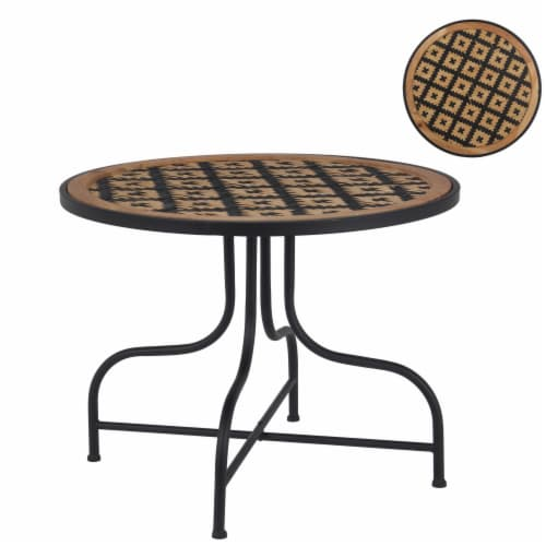 24 Inch Round Top Accent Table with Vinyl Weaving, Brown and Black Perspective: front