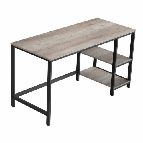 55 Inches Metal Frame Computer Desk with 2 Shelves, Gray and Black Perspective: front