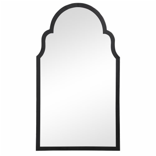 Sleek Elongated Quatrefoil Frame Mirror, Black Perspective: front