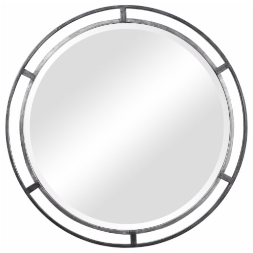 30 Inches 3 Dimensional Round Metal Frame Wall Mirror, Silver Perspective: front