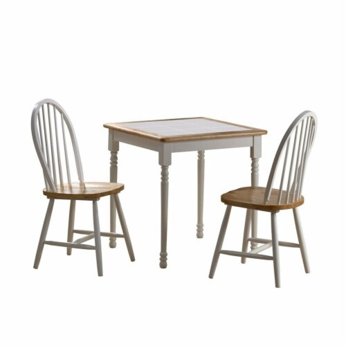 3 Piece Wooden Table with Spindle Back Chairs, White and Brown Perspective: front