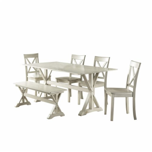 Wooden 6 Piece Dining Set with 1 Bench and X Back Chairs, White Perspective: front