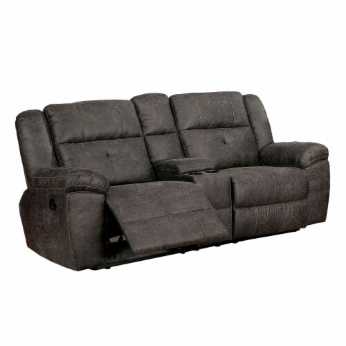Textured Leatherette Recliner Loveseat with Split Back Cushion, Dark Gray Perspective: front