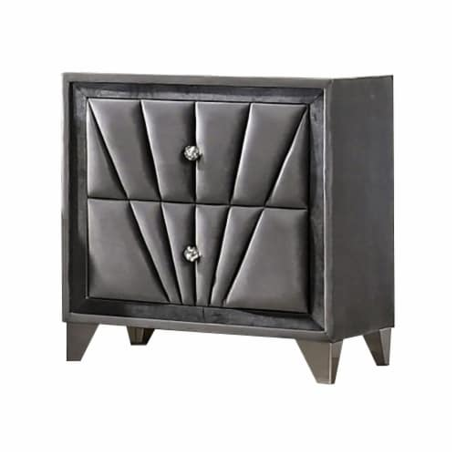 2 Drawer Fabric Frame Nightstand with Tufted Accent, Gray Perspective: front